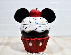 Mickey Mouse Cupcake Cookie Jar Canister Large Disney New Htf And03921