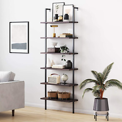 6-shelf Tall Bookcase Wall Mount Bookshelf With Natural Wood Finish And Industr