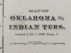 Vintage 1902 Oklahoma Indian Territory Map 22x14 Old Antique Original Choctaw