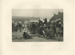 Antique A Wedding In Brittany France Cooking Kettle Wine Beer Barrel Dance Print