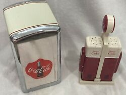 1990's Coca Cola Salt And Pepper Shakers And Napkin Dispenser