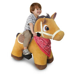 6 Volt Stable Buddies Chestnut Horse Plush Ride-on By Dynacraft Gift For Kids..