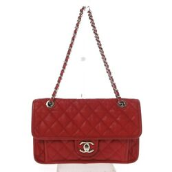 Auth French Riviera/matelasse A66801 Red Soft Caviar Skin Shoulder Bag