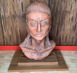 18 Inches Native American Indian Brave Terracotta Slip Bust Sculpture Signed