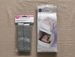 Nwt Wilton Lot Of 2bake-even Cake Strips Silver Fabric And 5 Treat Boxes5x5x3.5