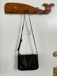 Madewell Small Crossbody Purse Black Leather with Pocket and Adjustable Strap $85.00
