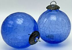Kugel Blue Crackle Ball Christmas Ornaments Pair Midwest Of Cannon Falls