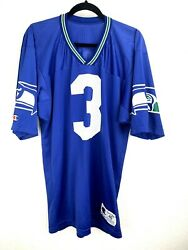 Champion Vintage Seattle Seahawks 3 Rick Mirer Jersey Size 40 Blue Made In Usa