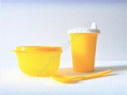 Tupperware Childrenand039s Sipper Cup Snack Cup And Hang-on Spoon Yellow