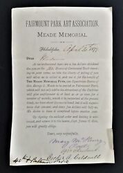 1879 Antique Meade Memorial Doc For Statue Gen George Meade To Be Erected