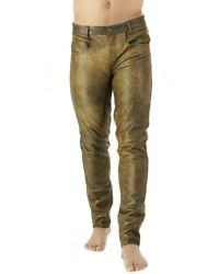 Premium Antique Leather Pants / Aniline Cowhide Smooth Leather Pants