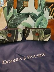 Dooney and Bourke banana leaf and 2 small zip pouches $199.00