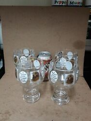4 Vintage Federal Glass Andldquoegg In Your Beerandrdquo 22k Footed Beer Glasses