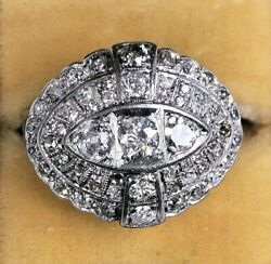 Antique Platinum And 14k Gold Cocktail Ring With 60 Diamonds 5ct Total - Size 7.5