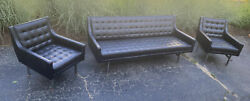 Mid Century Modern Patrician Black And Chrome Couch And 2 Chairs.
