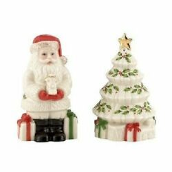 Lenox Holiday Pattern Salt And Pepper - Santa And Christmas Tree Shakers