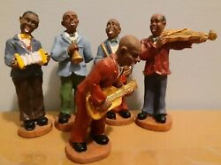 Rare Vintage 5-piece 4 Resin African American Jazz Figurines Hand-painted