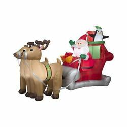 36855 Santa With Sleigh And Reindeer Christmas Inflatable 5 Ft Tall 5-ft Scene