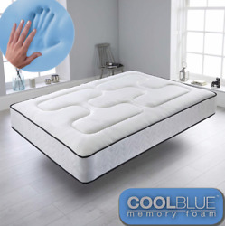 Cool Blue Memory Foam Mattress Sprung - Free Next Day Delivery - All Over The Uk