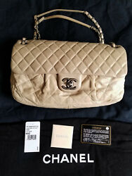Authentic Beige Quilted Iridescent Calfskin Chic Flap Bag