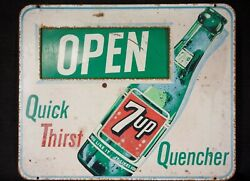 """Vintage Original Rare 7up Open/closed Movable Store Sign """"quick Thirst Quencher"""""""
