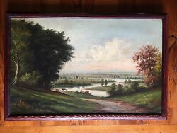 Connecticut River The Oxbow Northampton Massachusetts 19th Century Oil Painting