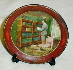 Antique Globe Wernicke Barrister Bookcase Advertising Tin Tip Tray Morrison Ill