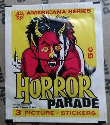 1970 Horror Parade Stickers Americana Series 5 Cent Wax Pack Wrapper Devil