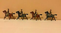 Britains Lead Toy Soldiers Army Calvary Paris Office Marked Depose Lot Of 4