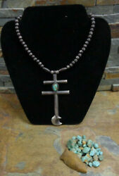 Huge 1940's Navajo Pueblo Sterling Turquoise Dragonfly Cross Bench Bead Necklace