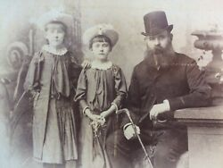 Cabinet Card: Victorian Photo: Rochdale Bearded Gentleman amp; his two daughters ?