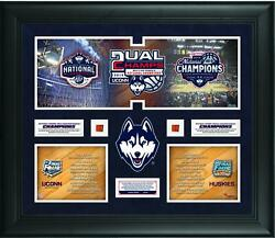 Uconn Huskies 2014 Men's And Women's Basketball Champs 20x24 Collage W/ Ball Piece