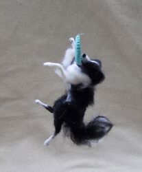OOAK Dollhouse Miniature Border collie leaping for a frisbee by Malga