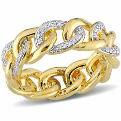 Amour Yellow Plated Sterling Silver Diamond Link Eternity Band Ring
