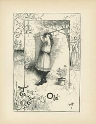 Antique Victorian Birthday Girl Ten Years Old Flowers Hollyhocks Pen And Ink Print