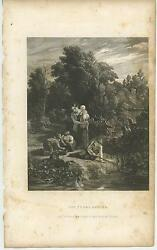 Antique Mezzotint Mother Child Young Angler Boy Fishing Nature Distressed Print