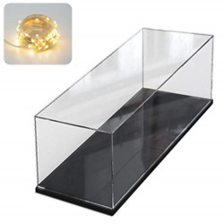 Clear Acrylic Display Case With Black Wood-plastic Base Countertop Box Cube For