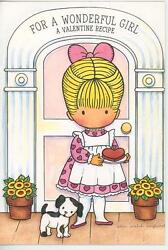 Vintage Joan Walsh Anglund Valentines Day Card Cat Strawberry Heart Cake Recipe