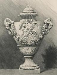 Antique Versailles Grapes Leaves Artistic Nude Woman Marble Vase Etching Print