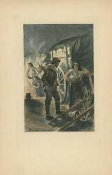 Antique Aquatint Hand Colored Gypsy Woman Kettle Fire Pot Cooking Etching Print