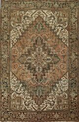 Vintage Muted Geometric Heriz Hand-knotted Area Rug Home Decor Oriental 7'x9'