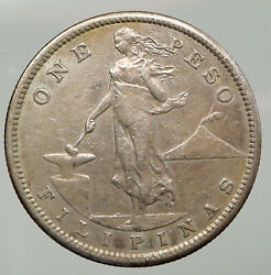 1907 S Philippines Under Us Administration W Eagle Old Silver Peso Coin I92758