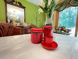 Red Coffee/ Tea Set By Thomas - Rosenthal. Offered With A Set Of 8 Dinner Plates