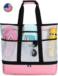 Beach Tote Bag With Cooler Large Mesh Beach Bags And Totes For Women Oversized P $39.99