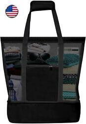 Ladies Picnic Bag Large Beach Bags Mesh Refrigerator Compartment Oversized Zippe $44.99