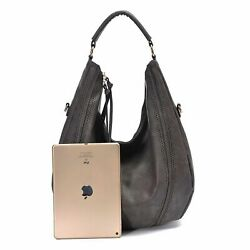 Womens Bag Hobo Handbags Leather Tote Slouchy Purse Piel Vintage Large Gray New $48.78