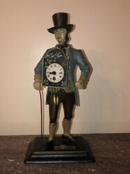 Arts And Crafts Cast And Bronze Enamelled Dutchman Sculpture And Clock Circa 1940's