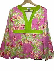 Lilly Pulitzer 100 Linen Tunic Floral Print Size Small Bright Pink Green