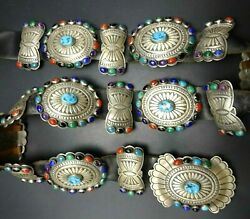 Navajo Hand Stamped Sterling Silver Multi-stone Rainbow Petit Point Cluster Belt