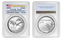 2020 P End Of World War 2, Ii 75th Anniversary Proof - Silver Medal Pcgs Pr70 Fs